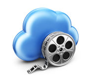 Storage movie film in cloud. 3D Icon. On white background Stock Photography