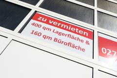 For hire. Storage and office area for hire in Germany stock photography
