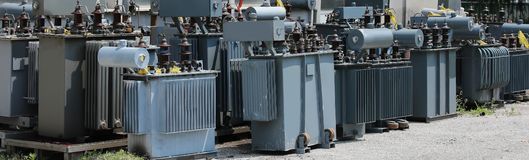 Storage of old highly polluting electrical transformers before d. Isposal in the company specializing in the recovery of hazardous substances royalty free stock image