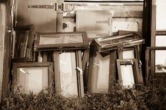 Storage of old windows Stock Image