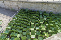 Storage of park furniture - green iron chairs. Royalty Free Stock Images