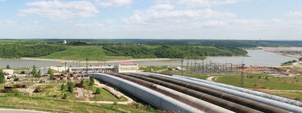 Storage plant. Panorama of water passages of storage plant Stock Image