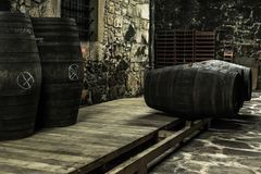 Storage of old barrels in a wine celler. Storage of Port wine in a wine celler in Douro valley Royalty Free Stock Photography