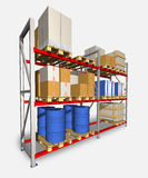 Storage racks and pallets with various products. Stock Images