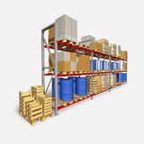 Storage racks and pallets with various products. Royalty Free Stock Images