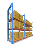 Storage Racks With Boxes. Stock Images