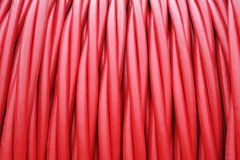 Storage of Red cord coiled around a Coil Stock Photos