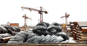 Storage of reinforcing steel rolls on yard Royalty Free Stock Photo