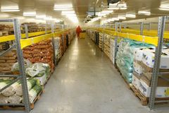 Storage room. Interior of storage of  fruit and vegetable packages Stock Photo