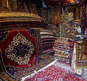 In a storage room of a carpet merchant Stock Photos