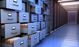 Storage room. Files in the storage room stock illustration