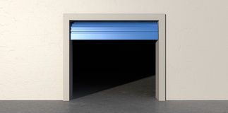 Storage Room Open And Empty. A front view of an empty storage room with an open blue roller door on an isolated white wall background Stock Photo