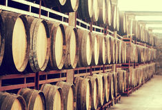 Storage with row of wooden wine barrels Stock Photography