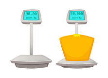 Storage scales. Cartoon vector illustration of Weighing goods Stock Photo