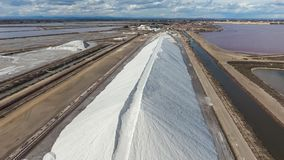 Storage of sea salt in the open air. The view from the top.  Stock Images