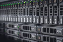Free Storage Server With Many HDD Disks Inside Rack In Server Room Stock Image - 215936071