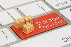 Storage services concept on red keyboard button, 3D rendering Stock Image