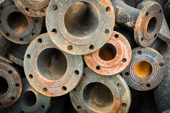 Storage of sewage pipe fittings, Cast iron pipe fittings. Stock Photography