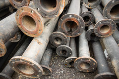 Storage of sewage pipe fittings, Cast iron pipe fittings. Stock Photos