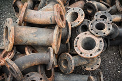 Storage of sewage pipe fittings, Cast iron pipe fittings. Stock Image