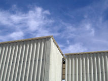 Storage sheds and sky Royalty Free Stock Images