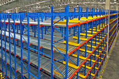 Storage shelf in warehouse distribution center Royalty Free Stock Images