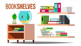 Storage Shelves Vector. Document, Book. Office Folders. Data Design. Stack. Flat Isolated Illustration. Storage Shelves Vector. Document, Book. Furniture. Office Stock Photography