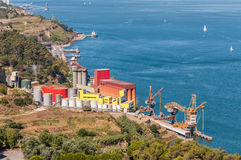 Storage silos in industrial zone Stock Images