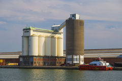 Storage silos in the Port of Antwerp Royalty Free Stock Images