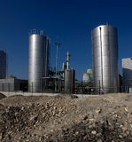 Storage site. View of an oil storage facility under construction stock photography