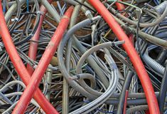 Storage of skeins of cord used thrown in a landfill for industri Royalty Free Stock Image