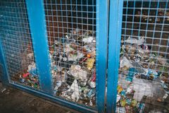 Storage of sorted waste at a waste processing plant. stock photos