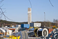 Storage space. Creating space for Nexans cable factory in Halden, here it is stored containers, equipment, tools and cable reels helter-skelter. In the Royalty Free Stock Photos