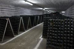 The storage of sparkling wine in a wine cellar. Royalty Free Stock Photography