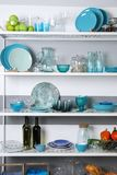 Storage stand with tablewar. E, indoors stock photography
