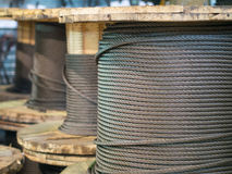 Storage of steel coils of rope Royalty Free Stock Images