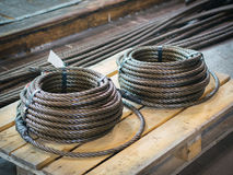 Storage of steel coils of rope Stock Image