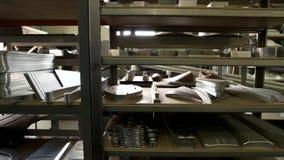 Storage of steel parts. stock footage