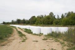 Storage of straw bales in plastic film Stock Image