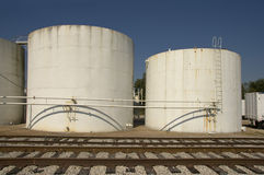 Storage tank and railways Stock Photos