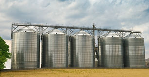 Storage tanks. Five, made of steel, storage tanks in an ethanol factory Royalty Free Stock Photos