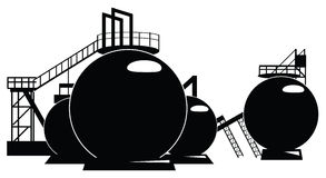 Storage tanks. Industrial processing of a storage tank. Vector illustration Royalty Free Stock Images