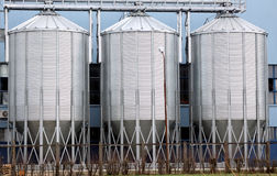 Storage tanks. Three shiny steel storage tanks, industrial background Royalty Free Stock Photos