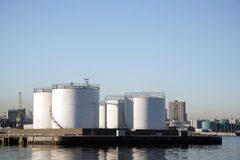 Storage tanks in Aberdeen Harbour Royalty Free Stock Photos