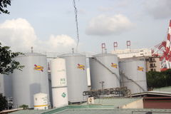 The Storage Tanks in the factory Royalty Free Stock Images