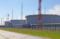 Storage tanks for fuel oil terminal Royalty Free Stock Photography
