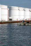 Storage tanks in the harbour Royalty Free Stock Image