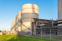 Storage tanks of an oil mill Royalty Free Stock Photography