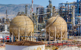 Storage tanks in oil refinery Royalty Free Stock Photos