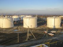 Storage tanks for petroleum products Stock Image